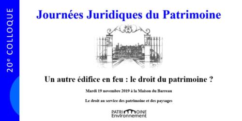 J-15 avant les Journées juridiques du patrimoine