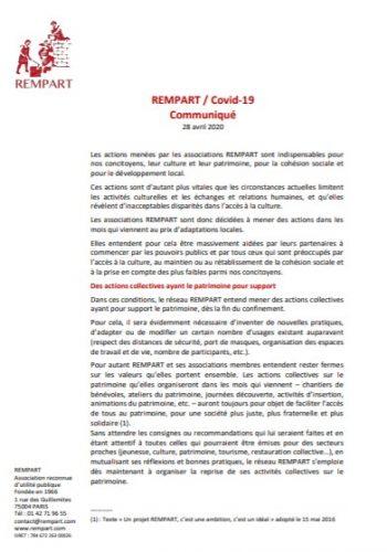 Communiqué de Presse - Covid19