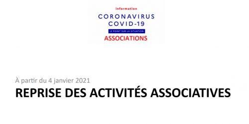 Info COVID - Reprise des activités associatives