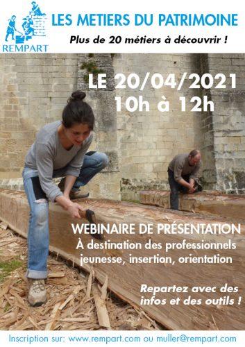 Les métiers du patrimoine : Webinaire le 20 avril